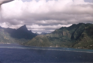 View of Moorea from plane